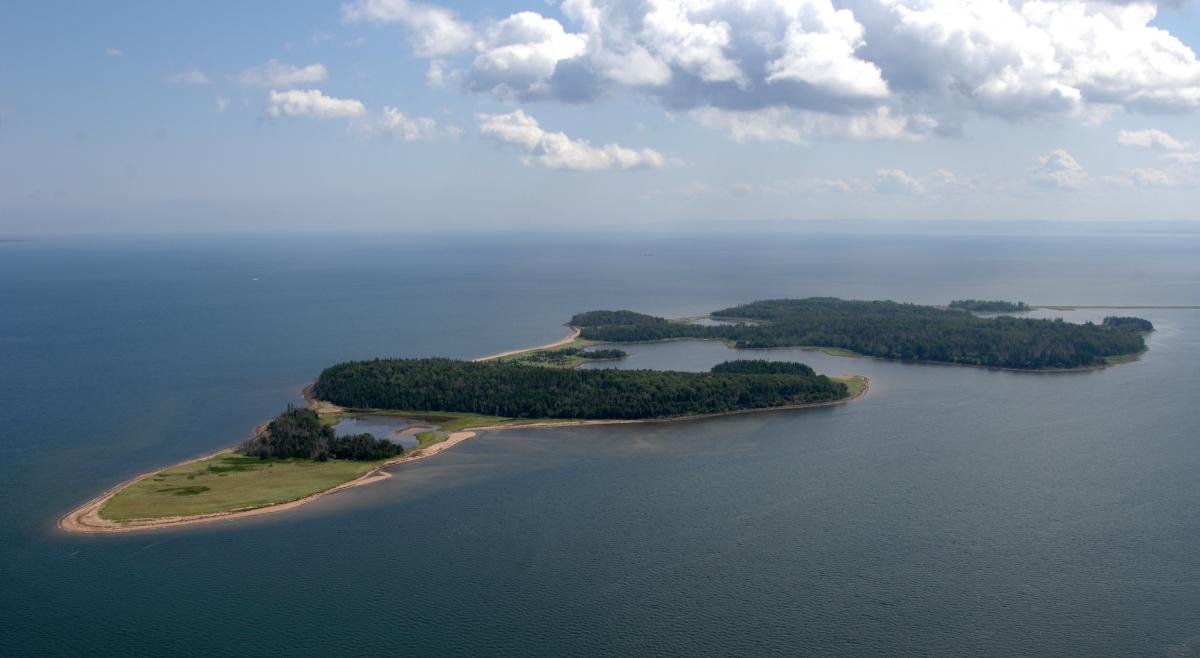 Aerial photograph of the island from above